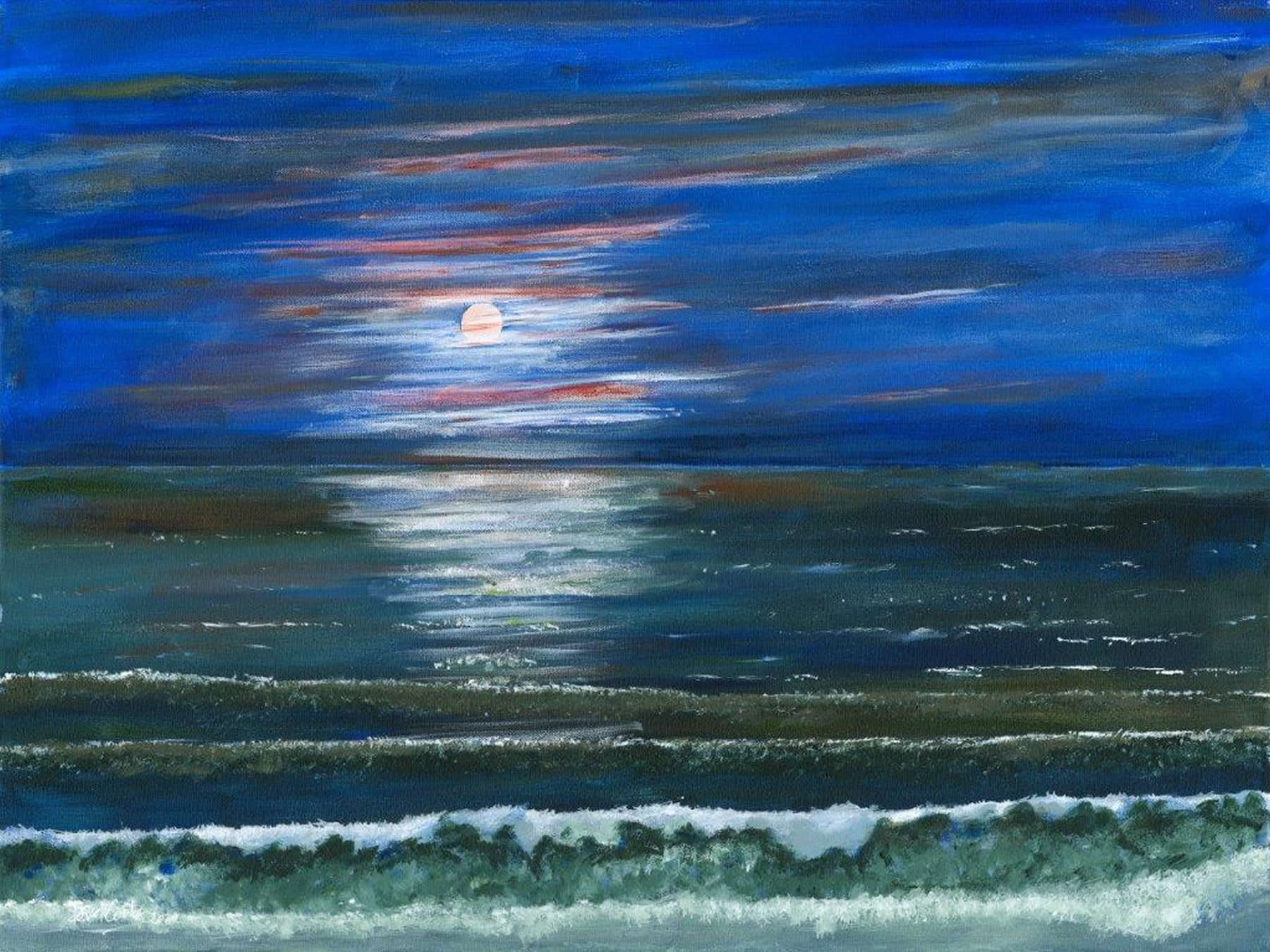 Art Gallery - Moonlight Fantasy - Painting of Sea at Night - Moon and dramatic sky