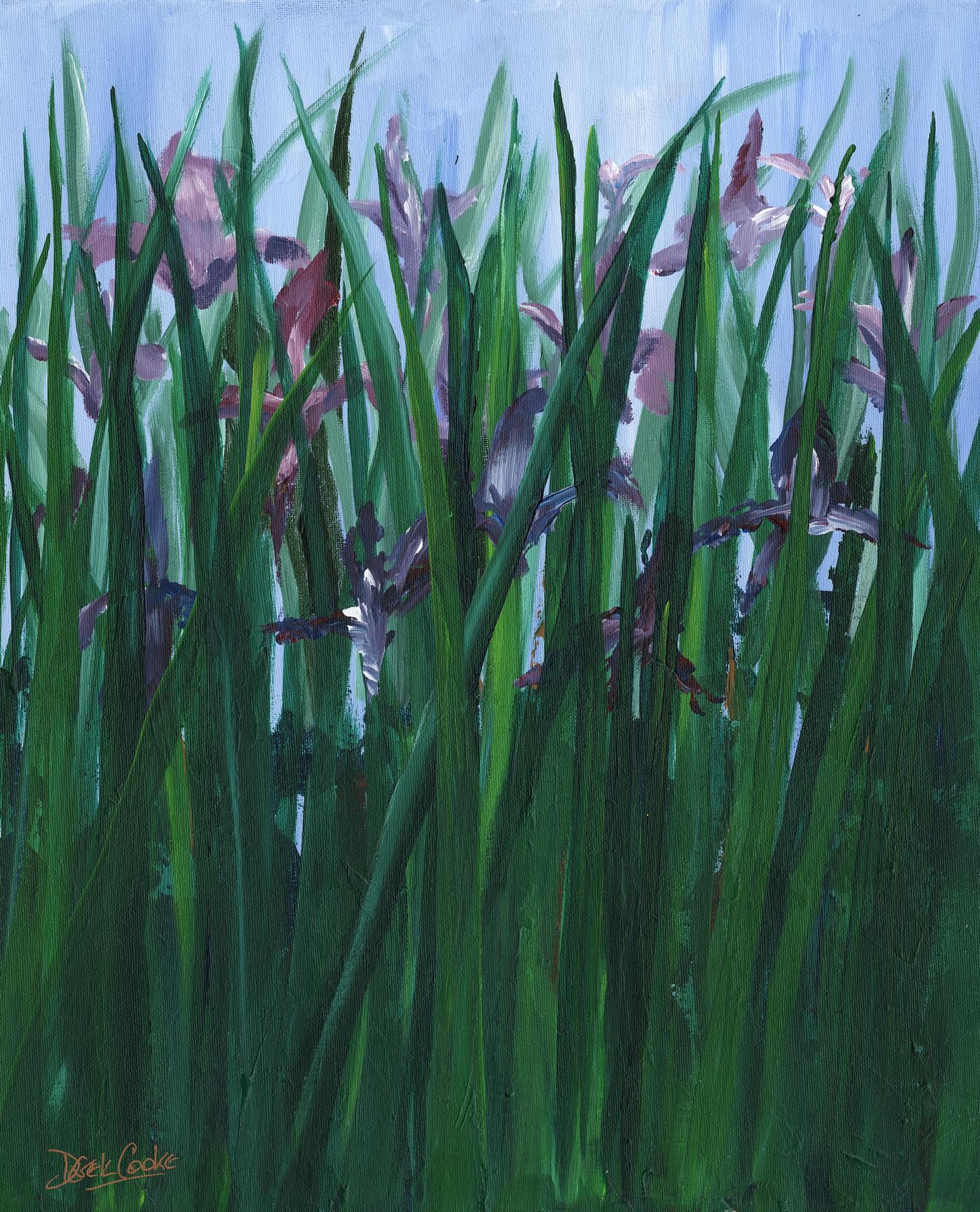 Art Prints Gallery - Purple Irises - Shepperton artist Derek Cooke