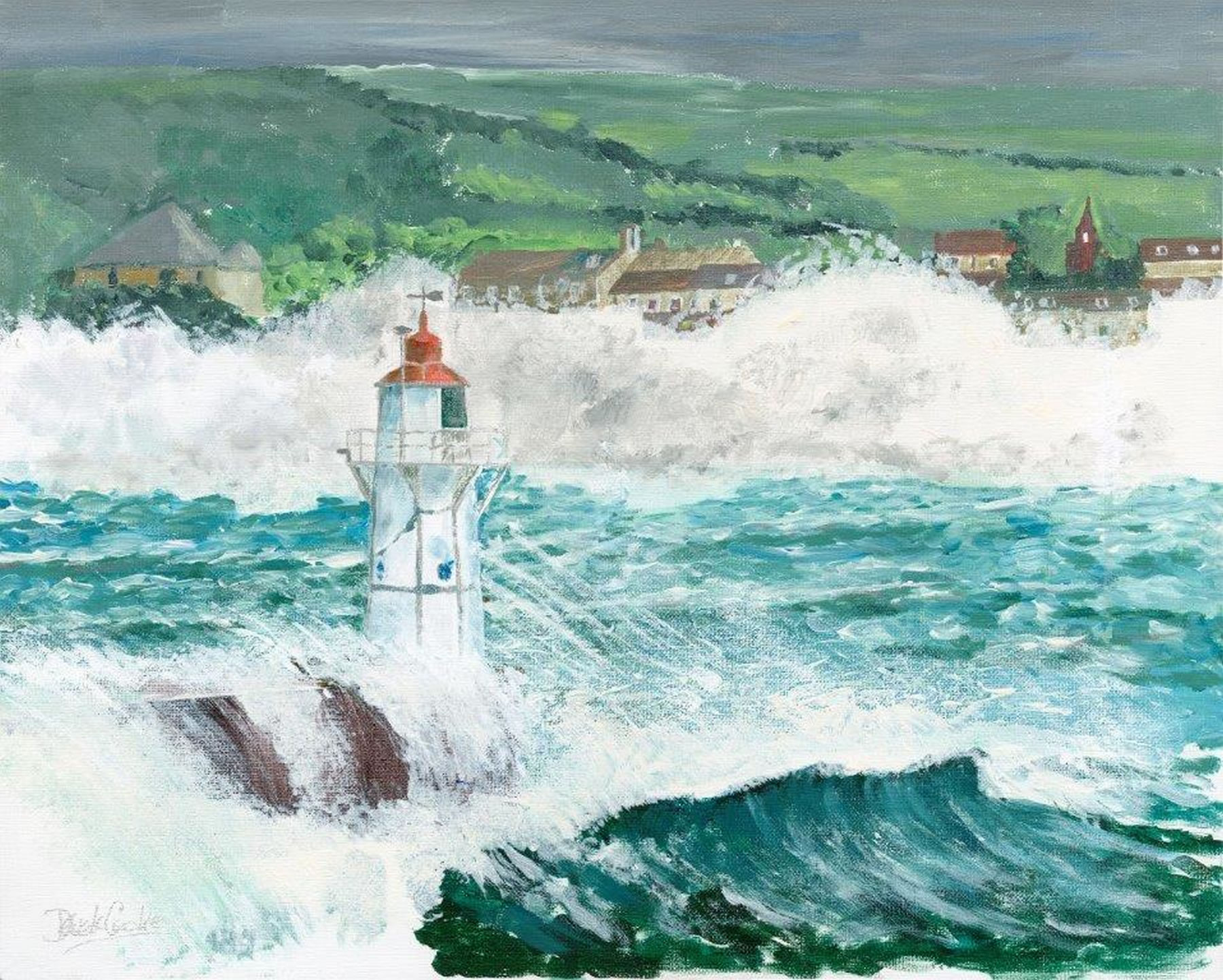 Art Prints - Lighthouse and rough seas in Stormy Weather