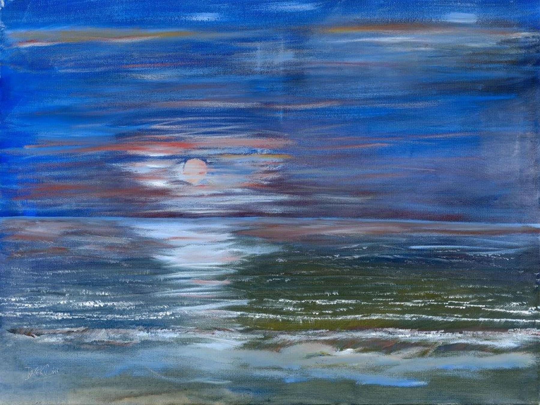 Moonlight Magic - Art Prints - Sea and sky at night painting