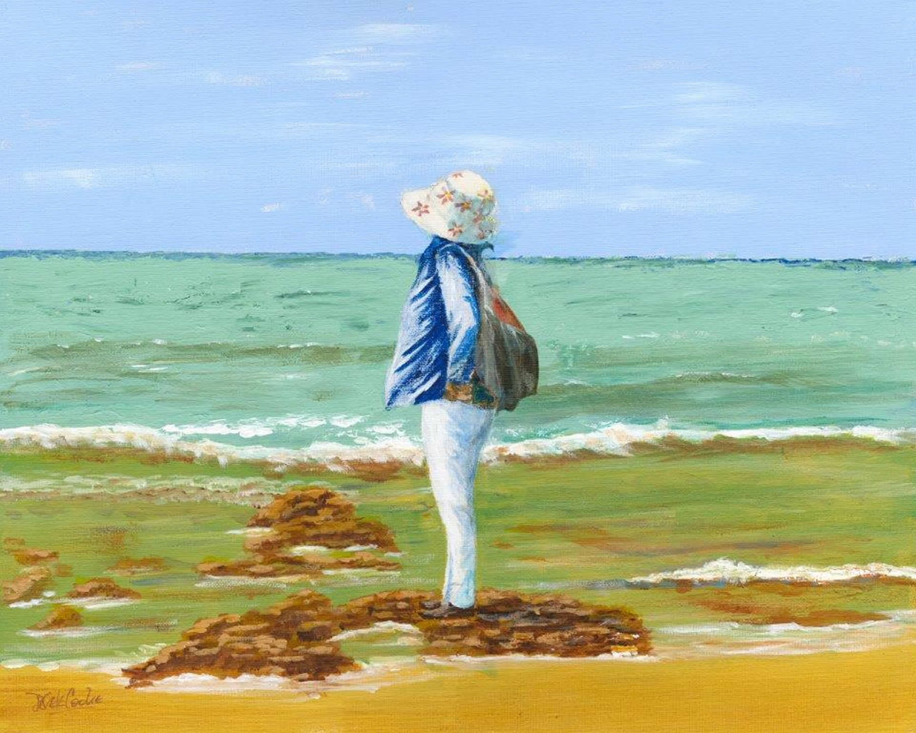 Watching the Waves - Beach View Fine Art Print